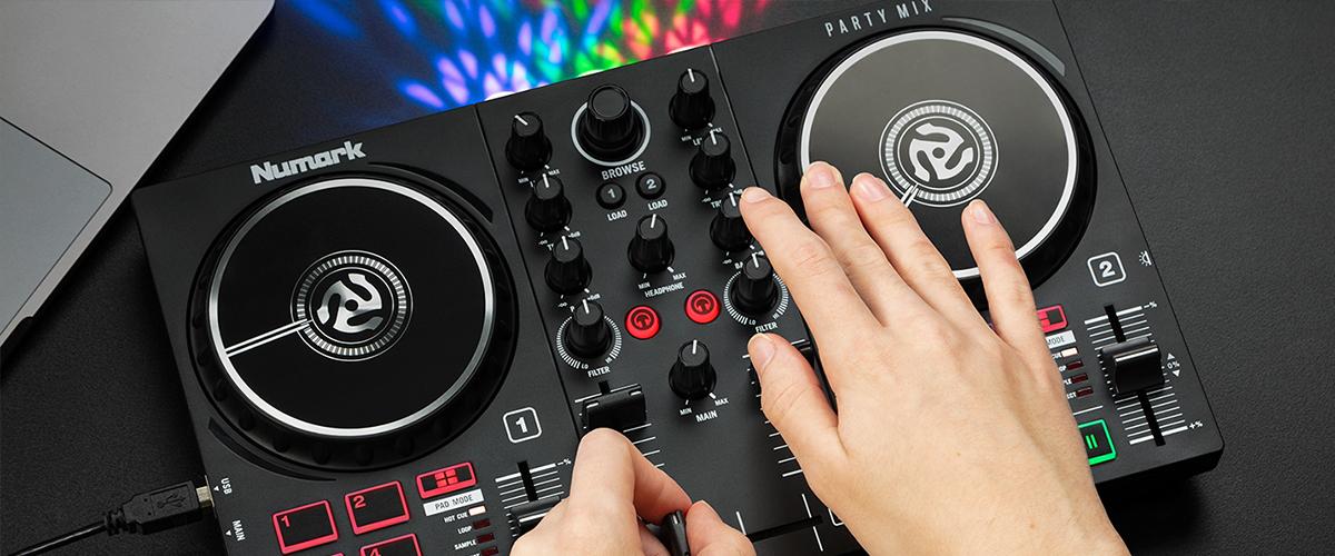 DJ scratching on DJ controller