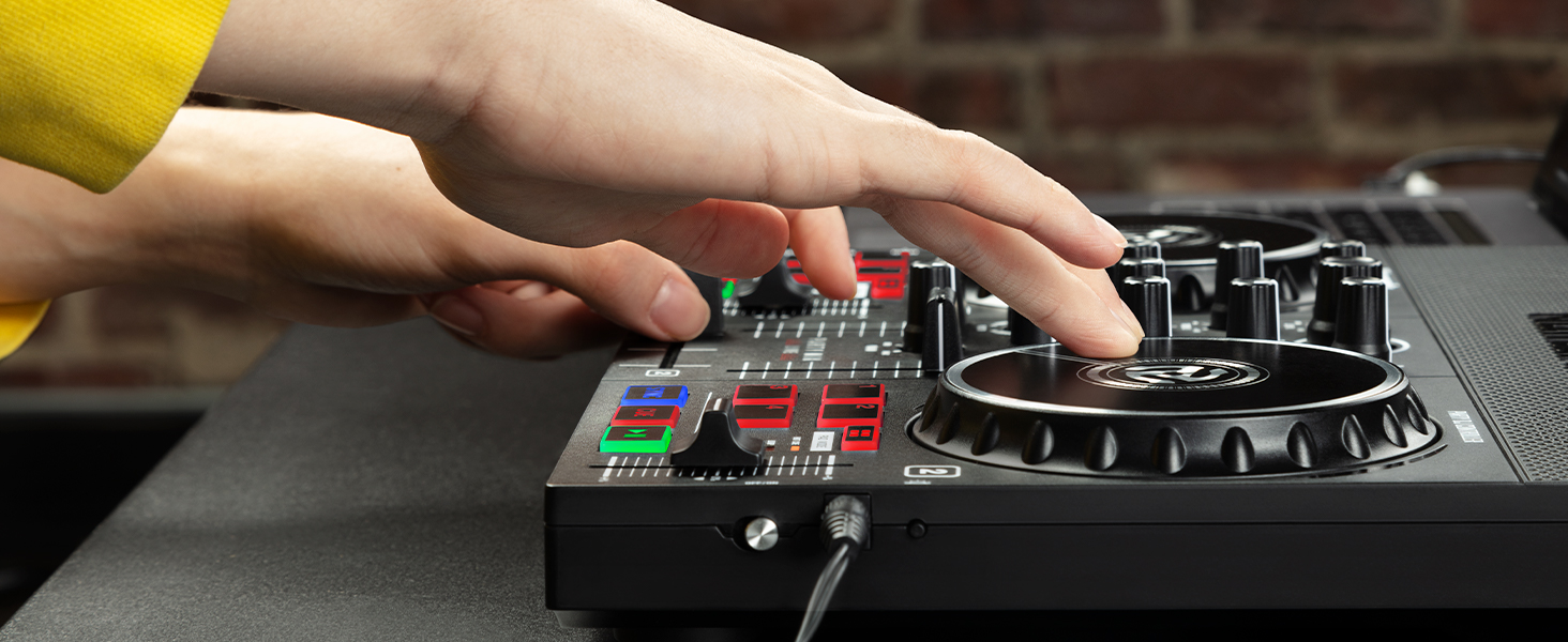 DJ scratching on Party Mix Live DJ controller