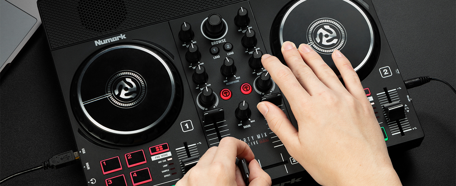 Party Mix Live DJ controller with speakers