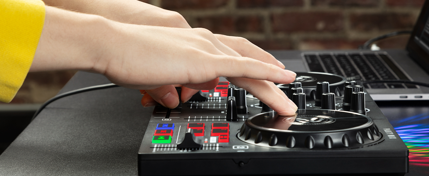 DJ scratching on Party Mix controller